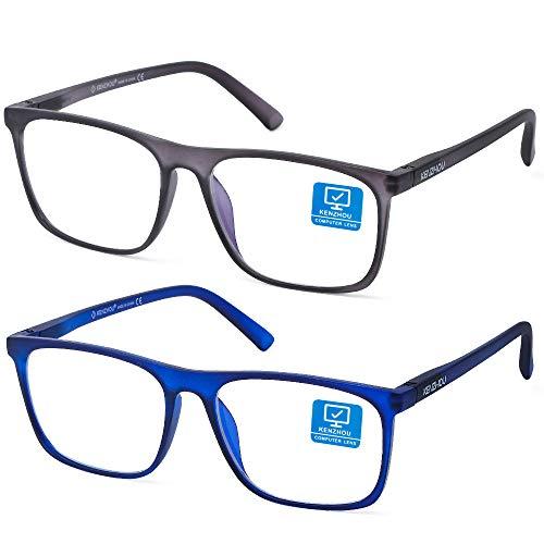Blue Light Blocking Computer Gaming Glasses 2 Pack Anti Glare Eyestrain Men/Women