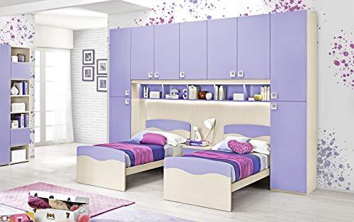 Dafnedesign.Com - Habitación completa con puente, efecto abedul, malva (doble cama individual y armario) (cm. 350 x 58 x 259h