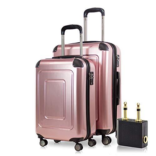 Happy Trolley - 2er Koffer-Set Trolley-Set Rollkoffer Hartschalen-Koffer Reisekoffer Lugano sehr leicht, TSA, (S+M), Rosegold +Audio Adapter