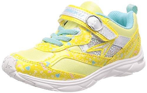 [シュンソク] 運動靴 通学履き 瞬足 ねじれ防止 軽量 15~23cm 1E キッズ 女の子 LEC 5770 イエロー白底 18 cm E
