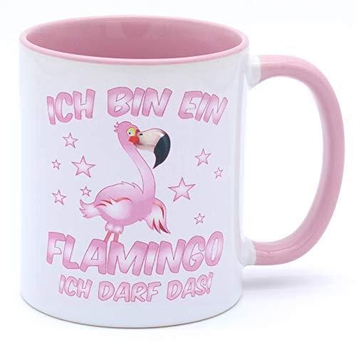 Ich bin ein Flamingo ich darf das Keramik Becher Tasse Rosa Weiß Pink Kaffeebecher Accessoires Ausgefallen Deko hübsche Geschirr Mädchen Büro Geburtstagsgeschenk Geschenkartikel Freundin frauen