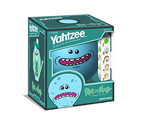 YAHTZEE Rick and Morty Meeseeks Edition   Shake, Score & Shout Yahtzee Dice Game   Officially Licensed Rick and Morty YAHTZEE Dice Game   Rick and Morty Merchandise