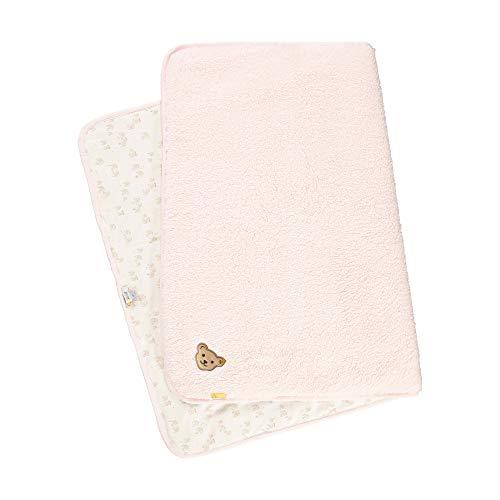Steiff Baby-Mädchen mit süßer Teddybärapplikation Decke Fleece, Rosa (Barely Pink 2560), 999