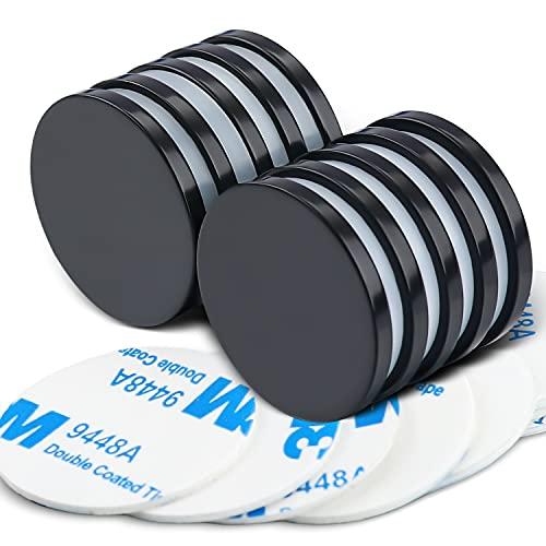 Imanes de disco de neodimio con recubrimiento epoxi, potentes imanes permanentes de tierras raras – Bono: adhesivo de doble cara, 3,66 cm de profundidad x 1,27 cm de alto, paquete de 6