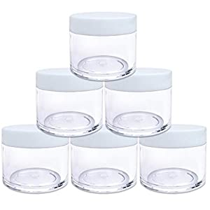 Beauticom® High Quality 30G/30ML (1 Oz) Round Clear Jars with White Lids for Pills, Medication, Ointments and Other Beauty and Health Aids - BPA Free (Quantity: 6 Pieces)