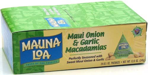 Mauna Loa Maui Onion & Garlic Macadamia Nuts, 0.5-Ounce Triangle Pack (Pack Of 24)