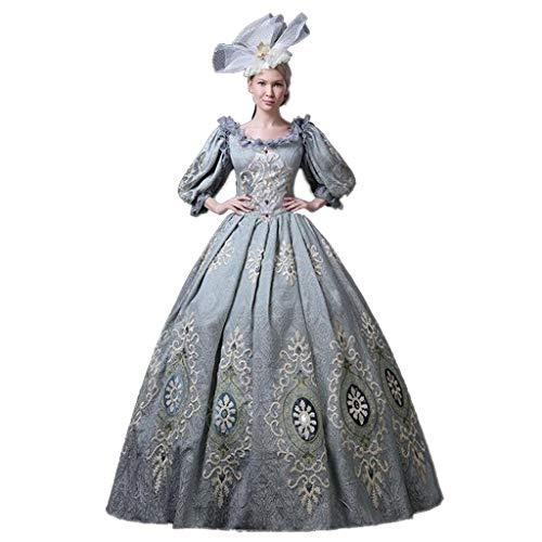 QJXSAN Der Frauen Medieval viktorianischen Kostüme Königliche Maskerade Vintage-Kostüm Lolita Gothic-Kleid-Ballkleid Cosplay Partei (Color : Blue, Size : XXXL)