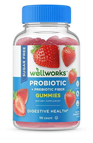 WellWorks Sugar Free Probiotics with Prebiotics Fiber – Great Tasting Natural Flavor Gummy Supplement – Keto Friendly Chewable – for Gut Health and Immune Support – for Adults, Man, Women – 90 Gummies