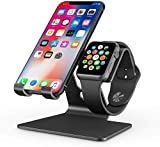 OMOTON 2 in 1 Universale Supporto in Alluminio per Smartphone e Orologio da Polso& Smartwatch, iWatch Holder, Stand Tavolo per iPhone e Apple Watch 5/4/3/2/1,Nero