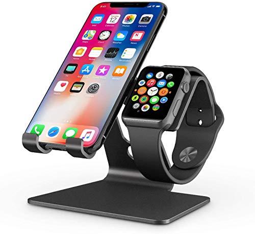 OMOTON iwatch Ständer, 2 in 1 Handy Ständer für alle Handys und Apple Watch Serie 5/4/3/2/1, Tisch Halter aus Alu-Legierung mit festem Winkel für iPhone, Huawei und andere Smartphone, Schwarz