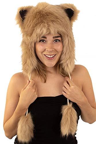 shoperama Fuchs Plüsch Mütze mit Ohren aus Kunstfell Braun Kostüm-Zubehör Fell-Mütze Karneval