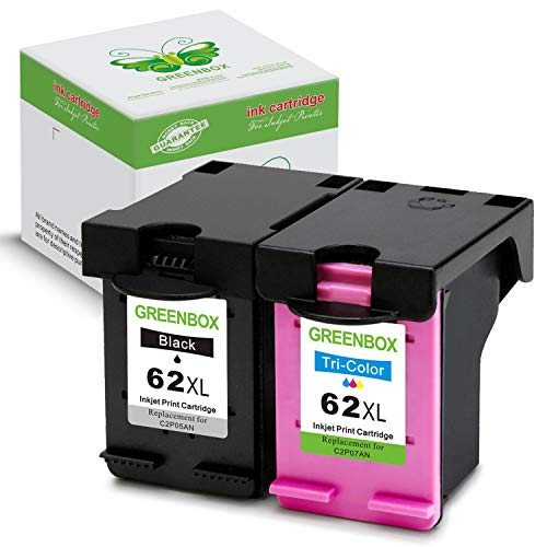 GREENBOX Remanufactured Ink Cartridges Replacement for 62 XL 62XL (1 Black, 1 Tri-Color) High Yield for Envy 7640 5660 5540 5640 5643 Officejet 5740 5743 5745 OfficeJet 200 250 Mobile Printer
