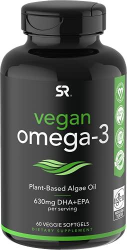 Vegan Omega-3 Fish Oil Alternative sourced from Algae Oil | Highest Levels of Vegan DHA & EPA Fatty Acids | Non-GMO Verified & Vegan Certified - 60 Veggie Softgels (Carrageenan Free)