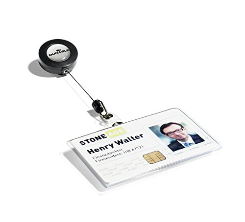 """Price comparison product image Durable ID Badge Holders with Retractable Reel,  Horizontal Orientation,  2-1 / 4"""" x 3-1 / 2"""",  Clear,  Pack of 10 (801619)"""
