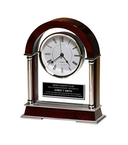 Large Arch Wood Rosewood Dual Chrome Metal Column Glass Casing Mantel Clock with Black Engraving Plate Employee Gift Anniversary Present
