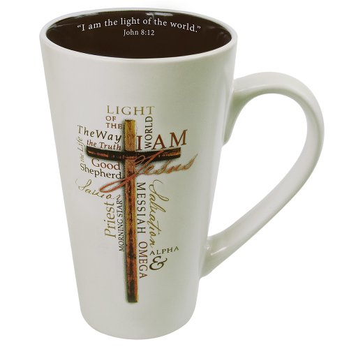 Christian Art Gifts Tall Stoneware Coffee/Tea Mug | Light of The World John 8:12 Bible Verse - Names of Jesus Mug For Men and Women | 16oz Cream Ceramic Cup with Large Handle