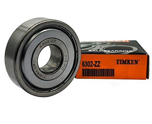 TIMKEN 6302-ZZ,2 Pcs,Double Metal Seal Bearings 15x42x13mm, Pre-Lubricated and Stable Performance and Cost Effective, Deep Groove Ball Bearings.
