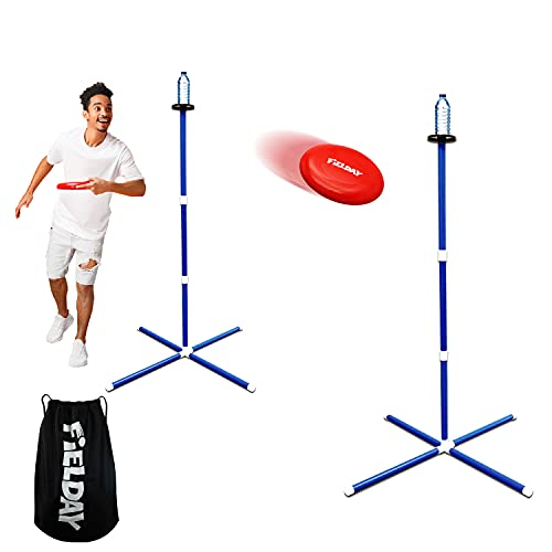 JOYIN Frisbee Game Set, Outdoor Games for Family Adults and Kids, Includes 2 Frisbee, 2 Bottle Stands and Carry Bag, Fun Flying Disc Toss Game, Lawn and Yard Games, Gifts for Teenage Girls and Boys
