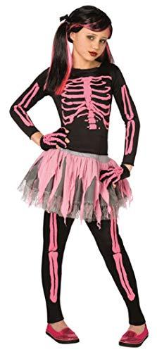 Filles 4 Pièces Rose ou Blanc Tutu Squelette Halloween Déguisement Costume Tenue 4-12 Ans - Rose, 7-9 Years