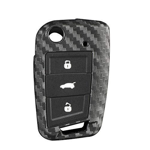 Berfea Autoschlüssel-Hülle aus Kohlefaser und Silikon, kompatibel mit VW Polo Golf 7 Tiguan Skoda Octavia Kodiaq Karoq Seat Ateca Leon Ibiza 2015 2016 (B)