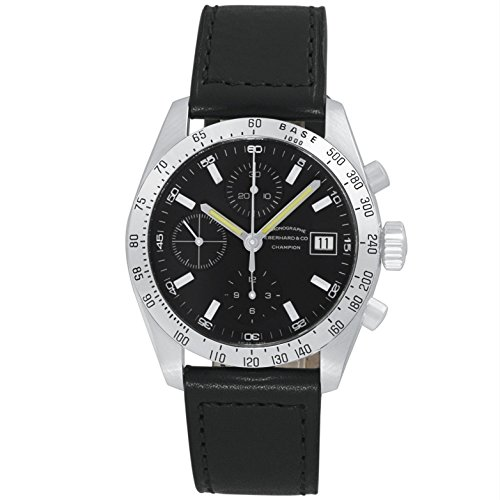 Eberhard & Co. Champion Chronograph Automatic Date Stainless Steel 31044.14 Mens Watch with Black Leather Band Black Dial