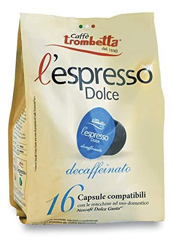 Caffè Trombetta L'Espresso Dolce, Capsule Compatibili Nescafè Dolce Gusto, Decaffeinato - 8 Confezioni da 16 Capsule (Totale 128 Capsule)
