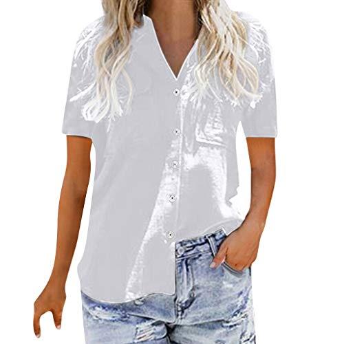 Riou Blusen Damen Kurzarm Hemd mit Knopf Sommer Baumwolle Loose Casual Tops T-Shirt Solid Große Größen Locker Oberteil Streetwear Shirts Tunika