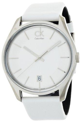 Calvin Klein K2H21101 - Reloj analógico de Cuarzo para Hombre con Correa de Piel, Color Blanco