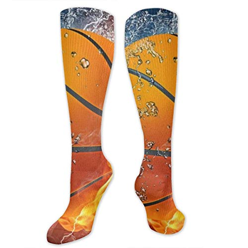 Nifdhkw Basketball Never Stops Compression Socks for Women & Men - Best Medical, Nursing, Travel & Flight Socks