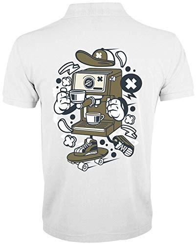 Kreskówka stylizowana na ekspres do kawy łyżwiarz miejski napój męski T-shirt polo, biały, M