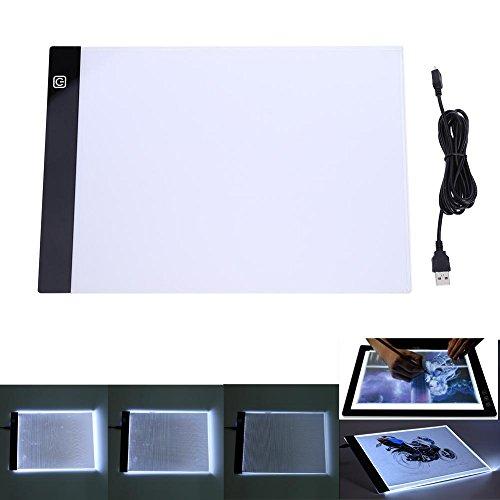 Demiawaking A4 K2 LED Tavoletta Luminosa con Luce Regolabile Tavolo da Disegno Scatola Luminosa Tavola per Ricalcare e Copia per per Stencil, Animazione, Disegni