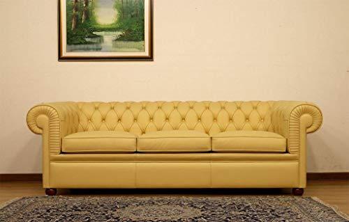 JVmoebel Design Chesterfield - Sofá de 3 plazas (piel sintética), color amarillo