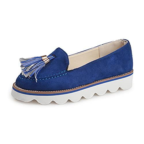 Mocasines Zapatos de Mujer Zapatos con Plataforma de Pies Anchos Mocasines Sin Borla Trasera Deslizamiento en la Oficina Trabajo Zapatos de Tacón de la Escuela (Size:42 EU,Color:Azul)