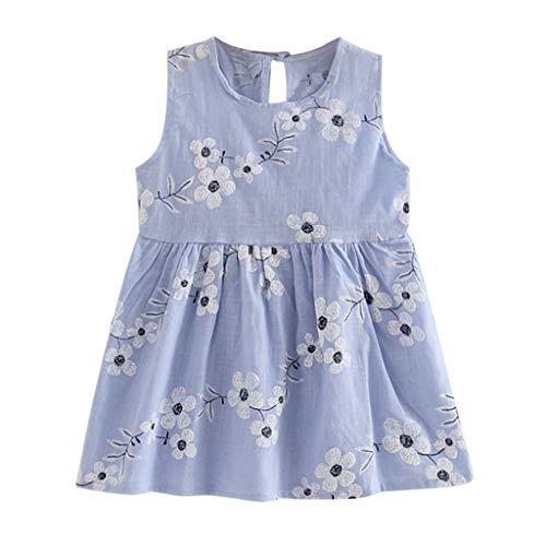YWLINK Kleinkind MäDchen Sommer Prinzessin Kleid Mit Blume Stickerei Baby Party Hochzeit ÄRmellose Bequem Süß Kleider(Blau,110)