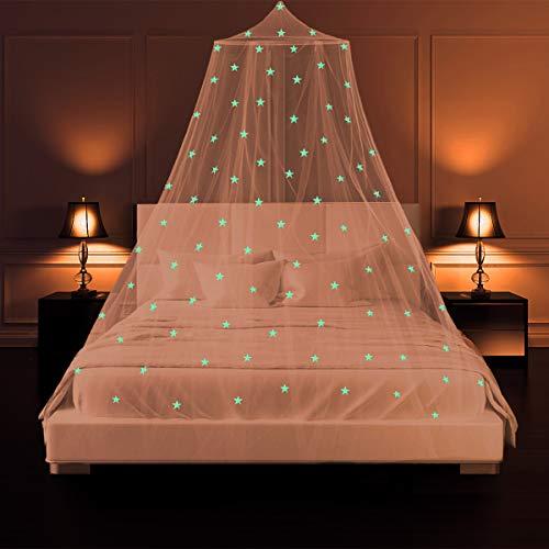 Moskitonetz Bett mit Leuchtsterne SZHTFX Ohne Bohren Groß Fliegennetz Bett Anti Insektenschutz Doppelbett füR Reise Und Zuhause Baldachin Moskitonetz Babybett Schlafzimmer Ankleidezimmer Dekoration