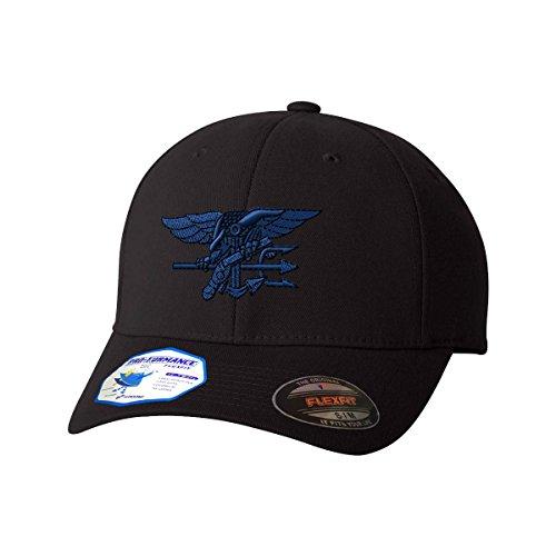 Blue Navy Seal Logo Flexfit Adult Pro-Formance Branded Hat Black Large/X-Large