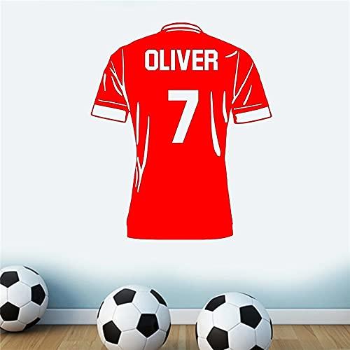 Camiseta de fútbol con nombre personalizado, pegatinas de arte de pared, equipo...