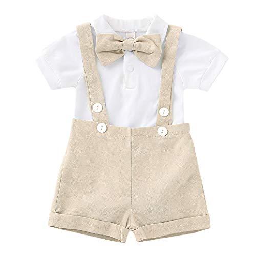 Edjude - Conjunto de ropa para bebé de manga corta con lazo y mariposa, para 6 meses a 3 años Beige 531 2-3 años