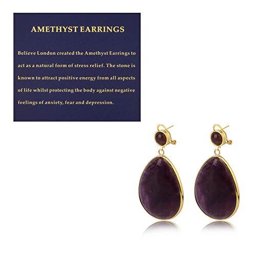 Believe London Amethyst Drop Dangle Stone Earrings Faux Druzy Crystal Pendant For Women Lightweight Pair