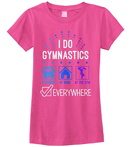 Threadrock Big Girls' I Do Gymnastics Everywhere Fitted T-Shirt S Fuchsia