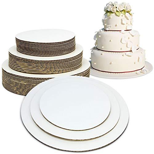 Juego de 6 tableros redondos para tartas de 8 a 10 pulgadas, a prueba de grasa, de cartón, desechables, con capas, para pasteles, pizza, círculos, festoneados, color blanco, apilables, base para decoración de tartas, 6' 8' 10', 30