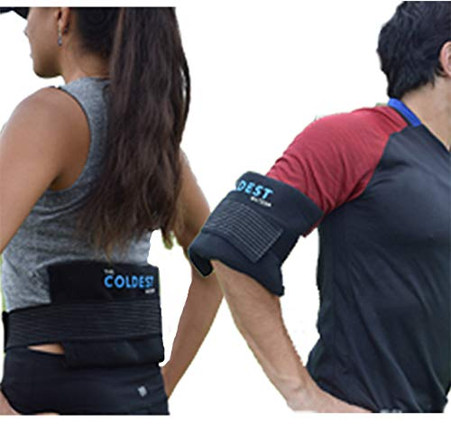 The Coldest Ice Pack - (Half-Size: 6.5' x 11') Two Professional Cold Packs Reusable Compress (Therapy for Pain and Injuries of Knee, Shoulder, Foot, Back, Ankle, Neck, Hip, Elbow) - 2 Pack