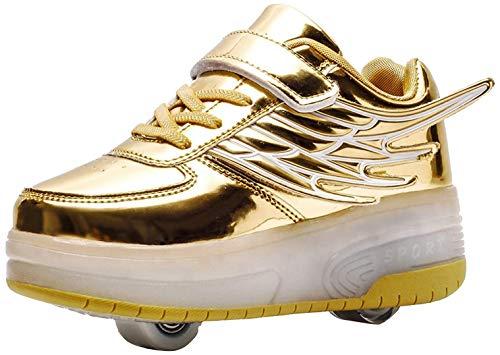 Niña Niño LED Luces Skate Roller Zapatos con USB Recargable Unisex Doble Ruedas Retráctil Skateboarding Rollerblades Deportes al Aire Libre Zapatos