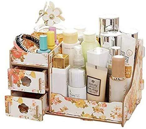 Bagage Cosmétiques boîte de rangement cosmétiques boîte de rangement avec tiroirs salle de bains / Chambre bureau Porte-brosse en bois, 11 X 7.1 X 6.3 pouces boîte de rangement esthétique (couleur: #