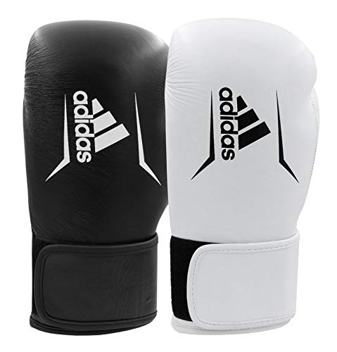 adidas Leather Boxing Gloves Gym Kickboxing 10oz 12oz 14oz 16oz Speed 175 Leder-Boxhandschuhe für Training, Fitness, Sparring, Fitnessstudio, Kickboxen, 284 g, 340 g, 455 g, Schwarz, 340,2 g (12 oz)