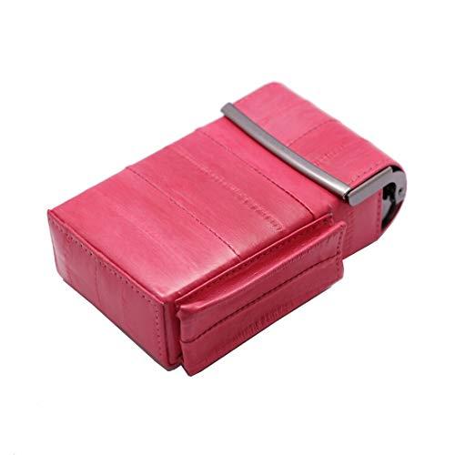 Automatic Rising Genuine Eel Skin Leather Sliding Cigarette Case with Lighter Holder (Pink)