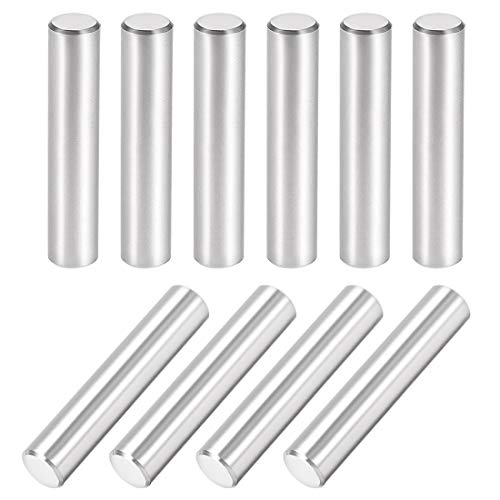uxcell 10Pcs 8mm X 40mm Dowel Pin 304 Stainless Steel Cylindrical Shelf Support Pin Fasten Elements Silver Tone