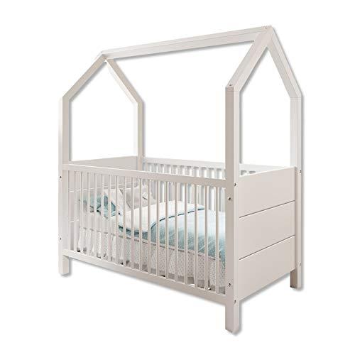 Stella Trading HOUSE Sicheres Babybett 70 x 140 cm mit Himmelvorrichtung - Schönes Baby Gitterbett aus massiver Erle / Weiß - 76 x 163 x 150 cm (B/H/T)