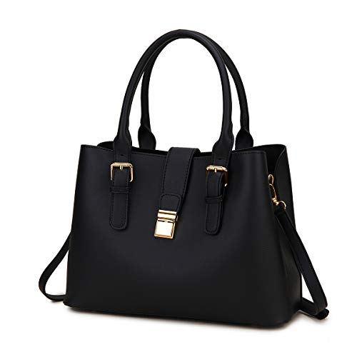 Handbags for Women, VASCHY Soft PU Leather Top Handle Bag Ladies Satchel Work Tote Shoulder Bag with Triple Compartments,Black