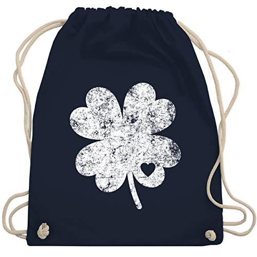 St. Patricks Day - Vintage Kleeblatt mit Herz - Unisize - Navy Blau - vintage kleeblatt mit herz beutel - WM110 - Turnbeutel und Stoffbeutel aus Baumwolle